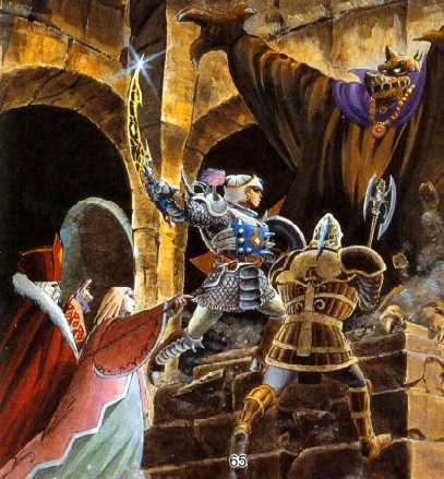 [THIS INCREDIBLE ARTWORK FOUND IN THE DW3 MANUAL WAS JUST TOO GOOD TO PASS UP! IT'S THE BATTLE WITH THE ARCHFIELD BARAMOS BTW]