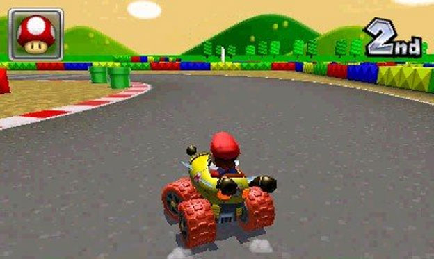 [The classic Mario Circuit track returns once more!]