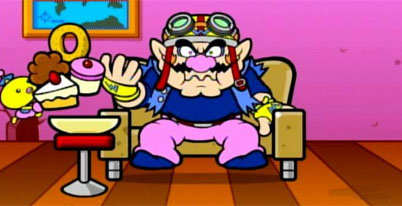 [Wario doing what Wario does best!]